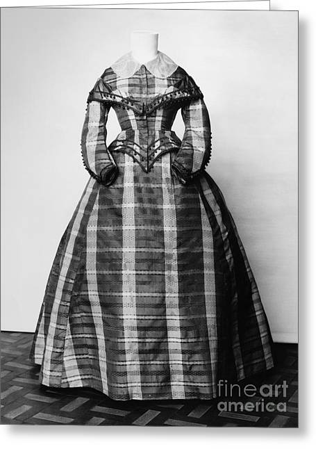 Plaid Dress Greeting Cards - FASHION: DRESS, c1865 Greeting Card by Granger