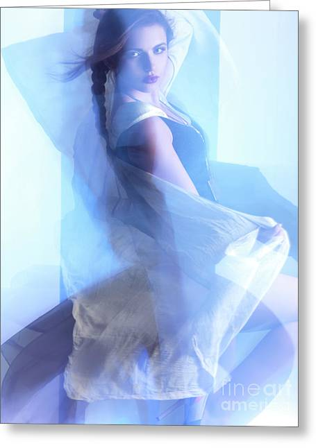Side Braid Greeting Cards - Fashion Photo of a Woman in Shining Blue Settings Greeting Card by Oleksiy Maksymenko