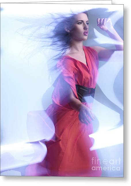 Glass Wall Greeting Cards - Fashion Photo of a Woman in Shining Blue Settings Wearing a Red  Greeting Card by Oleksiy Maksymenko