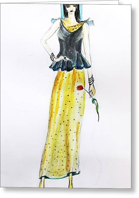 Figurs Greeting Cards - Fashion sketch eastern motive Greeting Card by Vida Barq