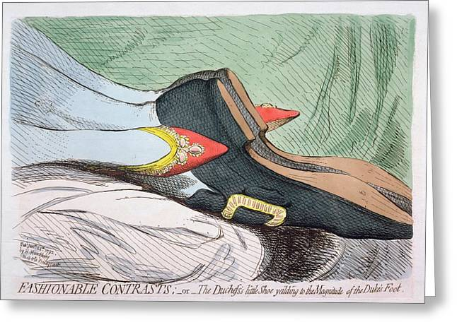 Funny Shoe Greeting Cards - Fashionable Contrasts Greeting Card by James Gillray