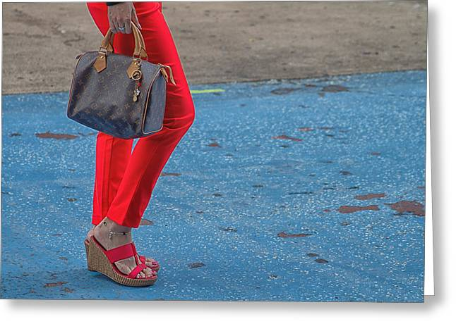 Walking Down The Street Greeting Cards - Fashionably Red Greeting Card by Karol  Livote