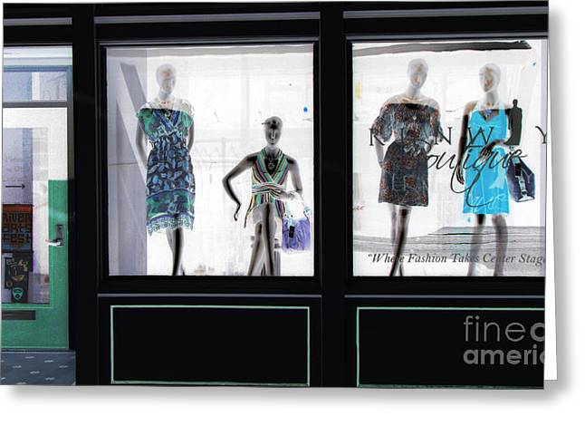 Store Front Greeting Cards - Fashionistas Greeting Card by Amanda Barcon