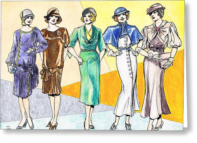 1933 Movies Greeting Cards - Fashions Ladies 1920s and 1930s Greeting Card by Mel Thompson
