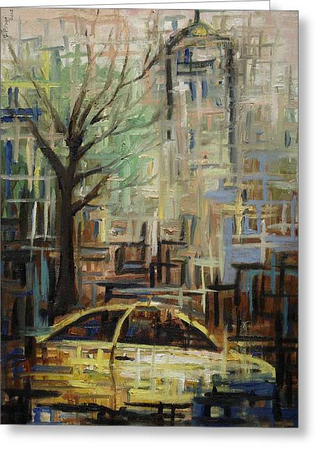 Bryant Paintings Greeting Cards - Fast City II Greeting Card by Janel Bragg