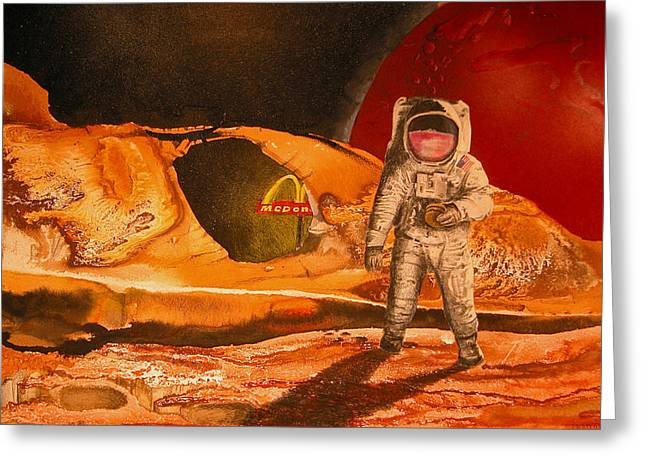 Fast Food Mixed Media Greeting Cards - Fast Food In Outer Space Greeting Card by Rhodes Rumsey