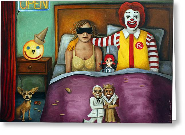 Jack-in-the-box Greeting Cards - Fast Food Nightmare 2 different tones Greeting Card by Leah Saulnier The Painting Maniac