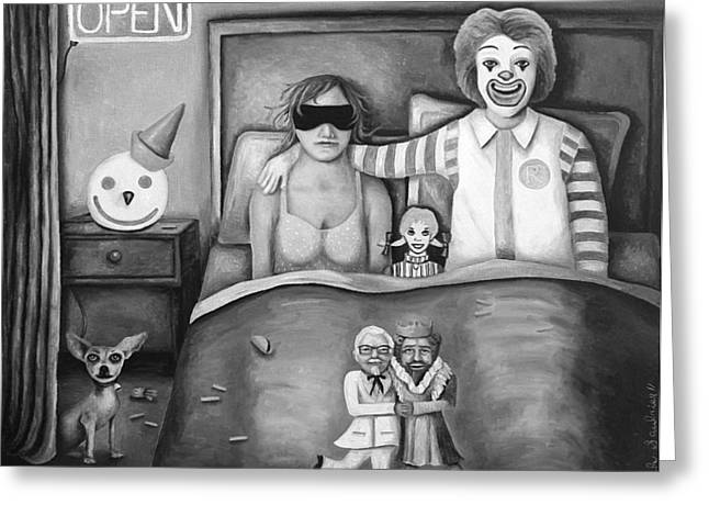 Fast Food Nightmare Bw Greeting Card by Leah Saulnier The Painting Maniac