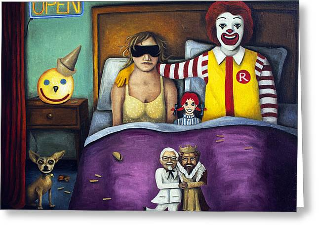 Taco Greeting Cards - Fast Food Nightmare Greeting Card by Leah Saulnier The Painting Maniac