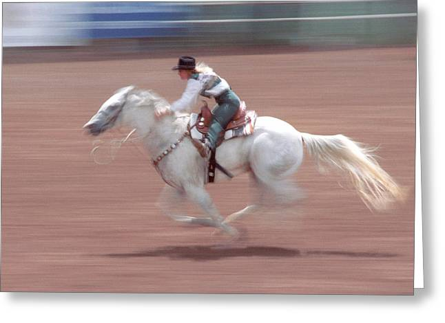 Colorado Cowgirl Greeting Cards - Fast Pony Greeting Card by Jerry McElroy