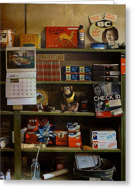 Toy Store Paintings Greeting Cards - Fast Releif Greeting Card by Doug Strickland