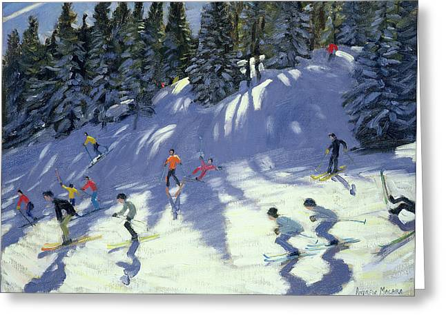 Austria Paintings Greeting Cards - Fast Run Greeting Card by Andrew Macara