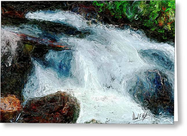 Water Fall Digital Art Greeting Cards - Fast Water Greeting Card by David Kyte
