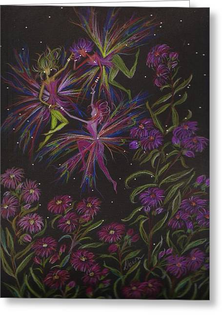 Aster Drawings Greeting Cards - Faster Aster Greeting Card by Dawn Fairies