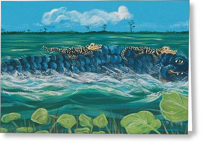 Florida Gators Paintings Greeting Cards - Faster Mommy Faster Greeting Card by Adriane Pirro