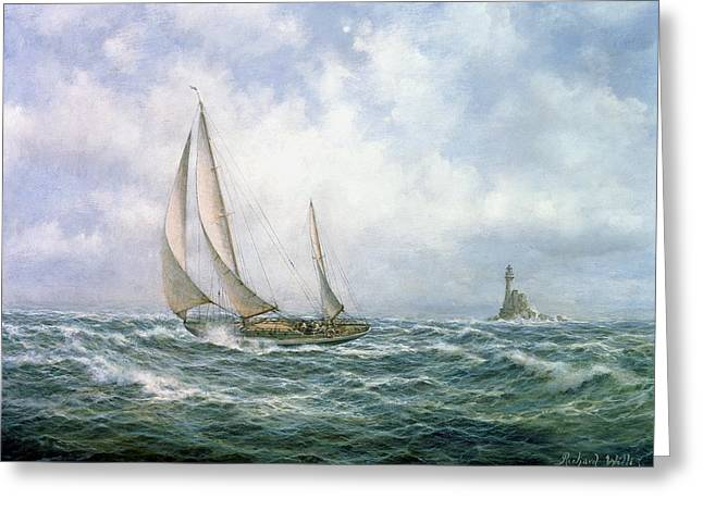Ocean Sailing Paintings Greeting Cards - Fastnet Abeam Greeting Card by Richard Willis