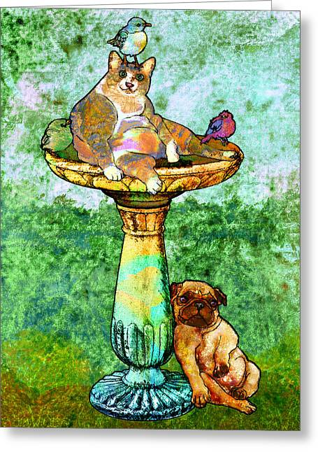 Ogling Greeting Cards - Fat Cat and Pug Greeting Card by Mary Ogle