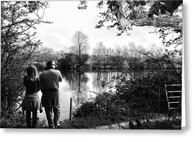 River Dee Greeting Cards - Father and Daughter - River Dee Chester Greeting Card by Nomad Art And  Design