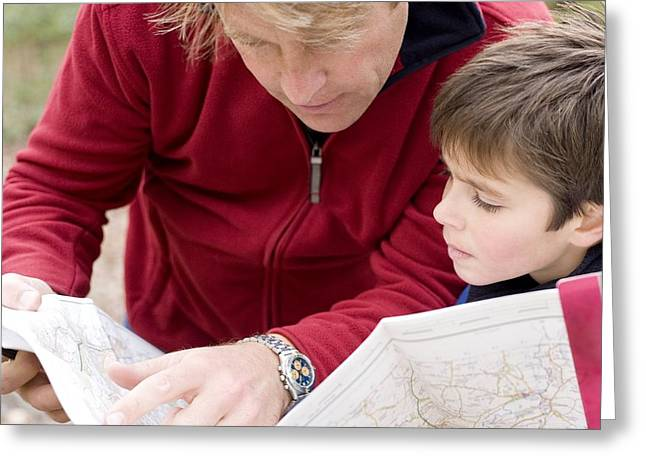Bonding Greeting Cards - Father And Son Reading A Map Greeting Card by Ian Boddy
