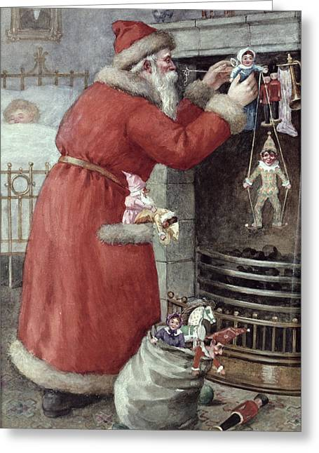 Present Greeting Cards - Father Christmas Greeting Card by Karl Roger