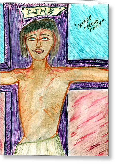 Forgiveness Drawings Greeting Cards - Father Forgive Them - Aug 1999 Greeting Card by Carl Deaville