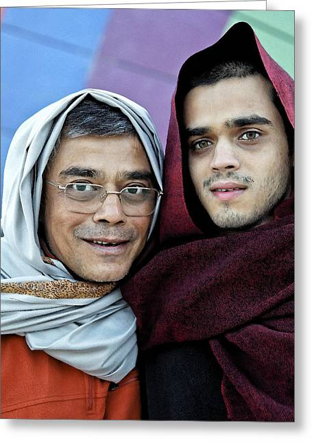 Olive Skin Greeting Cards - Father Son Bedouin Style Greeting Card by Kantilal Patel