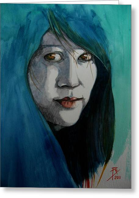 Waitress Paintings Greeting Cards - Fatima Greeting Card by Ray Agius