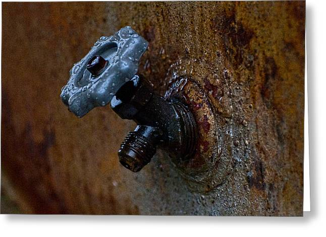 Rusty Oil Drum Greeting Cards - Faucet Greeting Card by Wilma  Birdwell