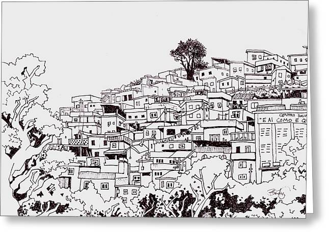 Ghetto Drawings Greeting Cards - Favelas  Greeting Card by Ben Leary