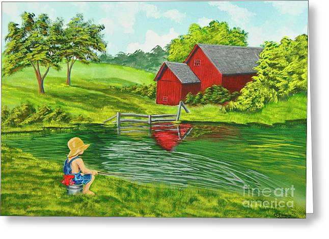 Southern Comfort Greeting Cards - Favorite Fishing Hole Greeting Card by Charlotte Blanchard