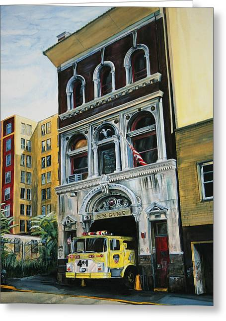 Engine Paintings Greeting Cards - FDNY  Engine Company 41 Greeting Card by Paul Walsh