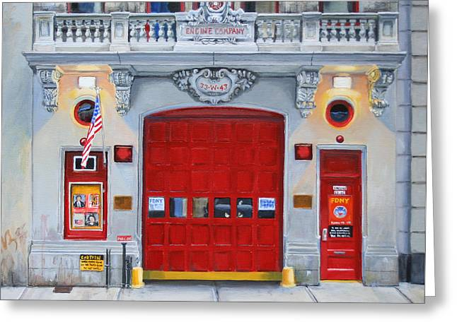 Red Door Greeting Cards - FDNY Engine Company 65 Greeting Card by Paul Walsh