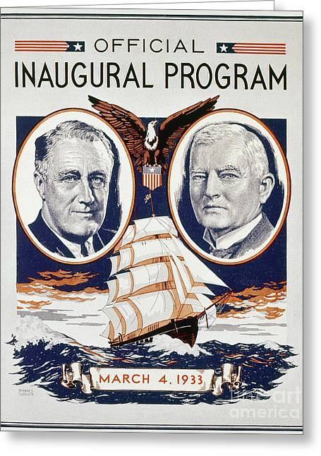 Franklin Roosevelt Greeting Cards - Fdr: Inauguration, 1933 Greeting Card by Granger