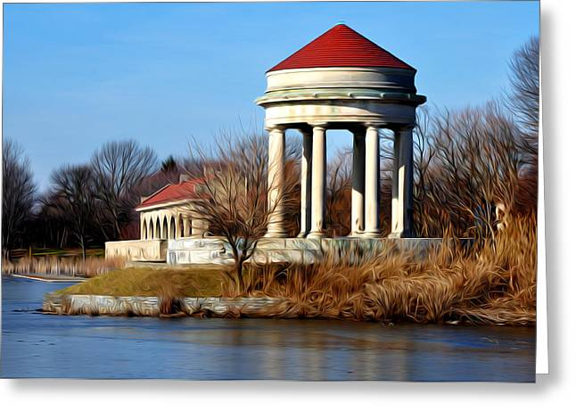 Franklin Roosevelt Greeting Cards - FDR Park Gazebo and Boathouse Greeting Card by Bill Cannon