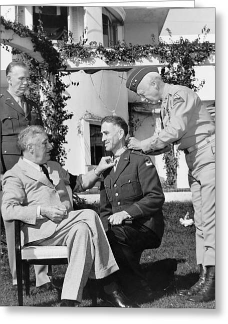 Wwii Photographs Greeting Cards - FDR Presenting Medal Of Honor To William Wilbur Greeting Card by War Is Hell Store