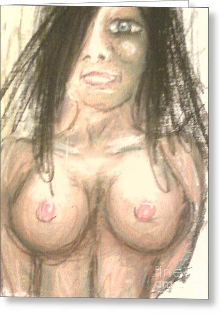 Person Pastels Greeting Cards - Fear Greeting Card by Dustin Spaulding