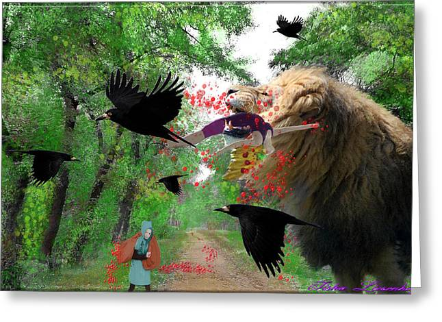 Ravens Greeting Cards - Feast Greeting Card by Tisha McGee