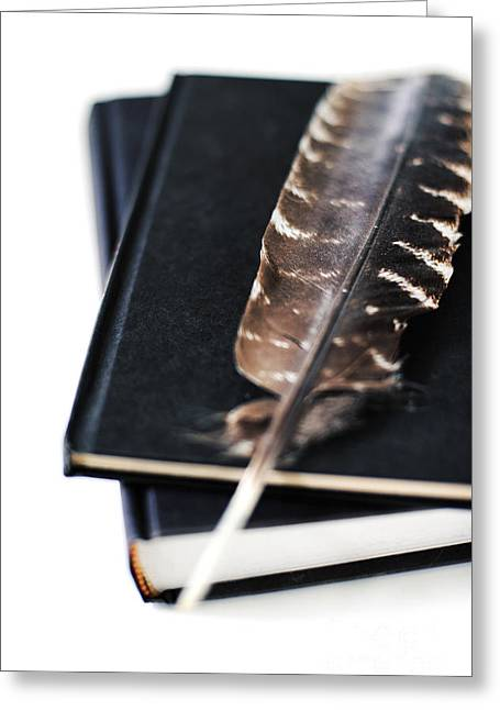 Hardcover Greeting Cards - Feather And Books Greeting Card by HD Connelly