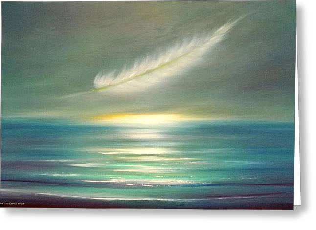 Sunset Posters Greeting Cards - Feather at Sunset Greeting Card by Gina De Gorna