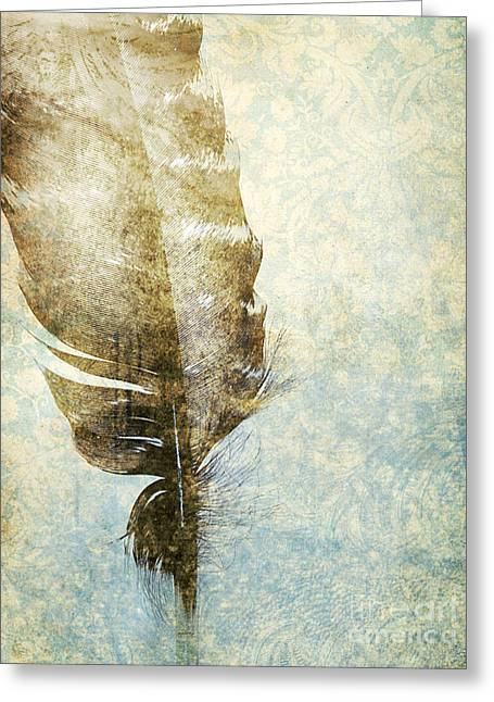 Feather Pen Greeting Cards - Feather Greeting Card by HD Connelly