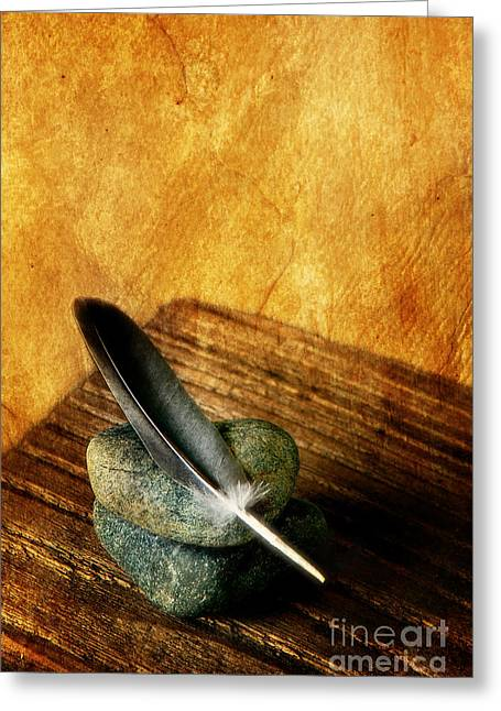 Organic Greeting Cards - Feather With Stones Greeting Card by HD Connelly