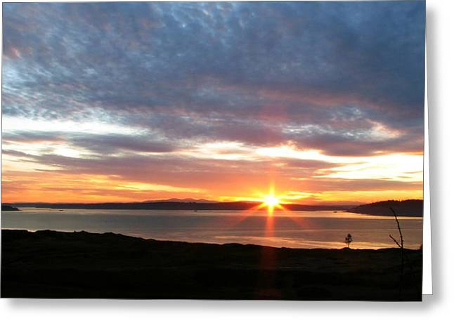 University Place Greeting Cards - February Sunset - Chambers Bay Golf Course Greeting Card by Chris Anderson
