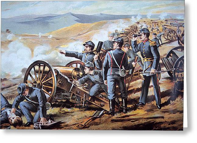 Armed Forces Greeting Cards - Federal field artillery in action during the American Civil War  Greeting Card by American School