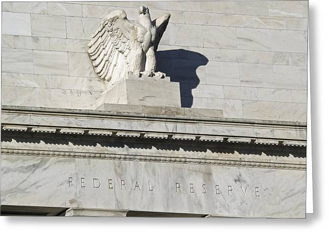 Fed Greeting Cards - Federal Reserve Eagle Detail Washington DC Greeting Card by Brendan Reals