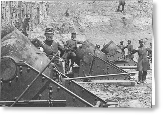 Photo-based Greeting Cards - Federal Siege Guns Yorktown Virginia during the American Civil War Greeting Card by Mathew Brady