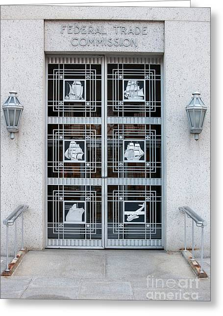Art Of Building Greeting Cards - Federal Trade Commission Art Deco Door Greeting Card by Clarence Holmes