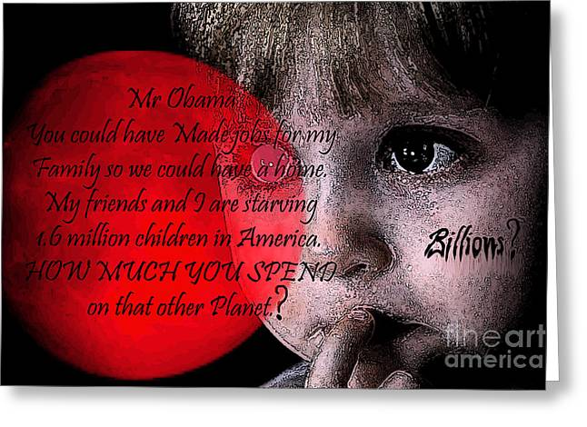 Obama Children Greeting Cards - Feed me Obama? Greeting Card by Tbone Oliver