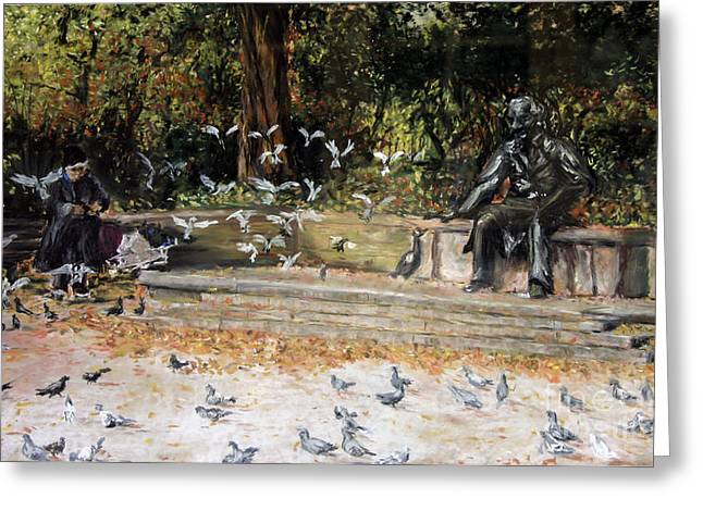 Manhattan Pastels Greeting Cards - Feed the Birds Central Park Greeting Card by Barry Rothstein