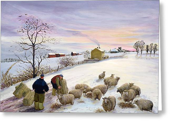 Feed Greeting Cards - Feeding sheep in winter Greeting Card by Margaret Loxton