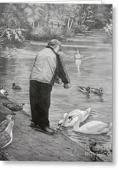 Muted Drawings Greeting Cards - Feeding the Birds Greeting Card by Kim Hunter